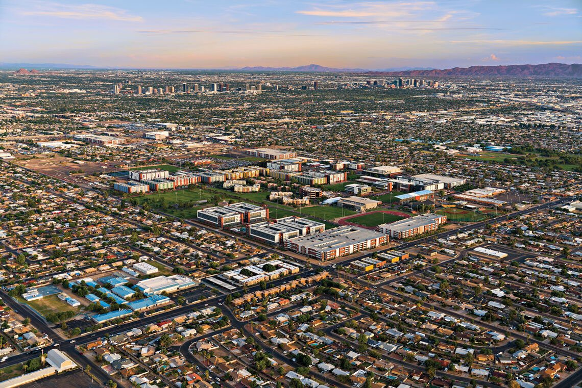 Aerial view of GCU Campus in the heart of Phoenix