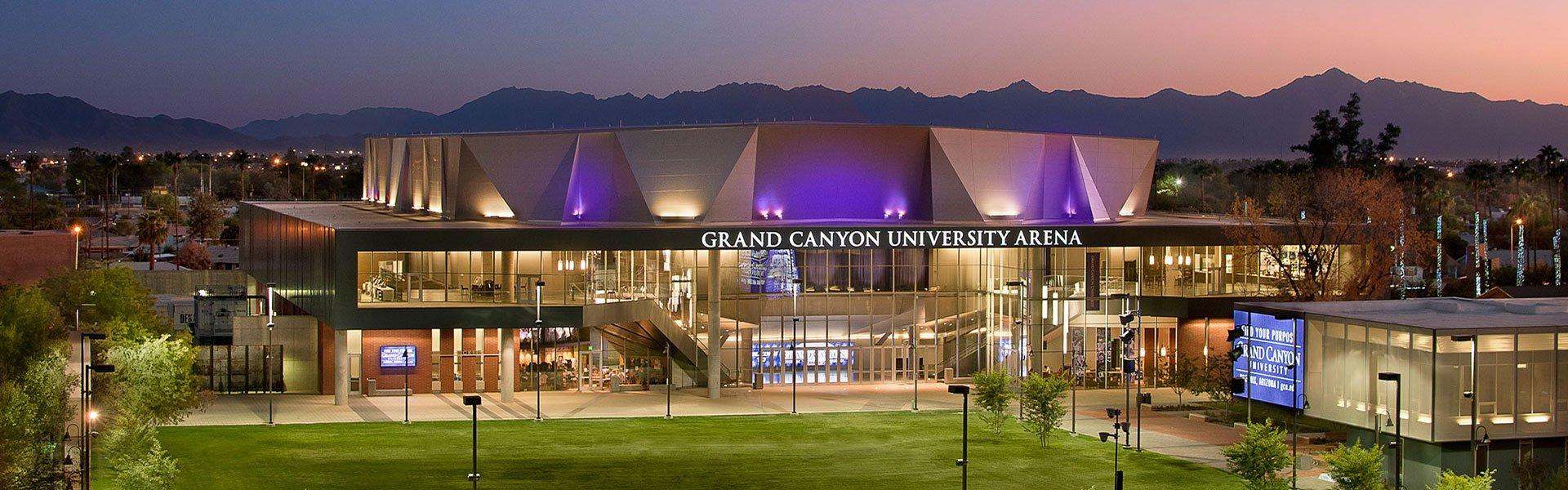 Aerial view of GCU Arena on the GCU Campus in Phoenix, AZ.