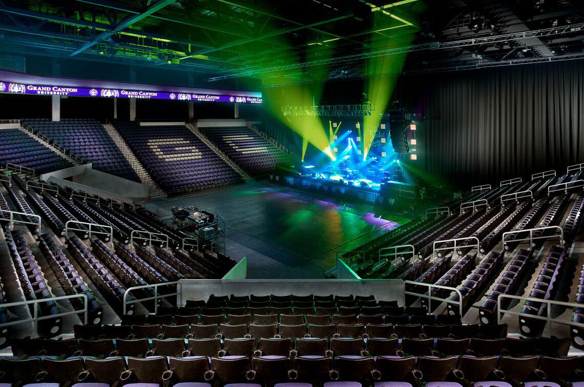 GCU Arena preparing for a concert with light show