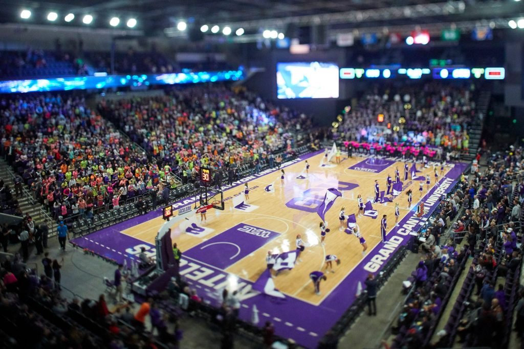 Half time performance at basketball game in GCU Arena