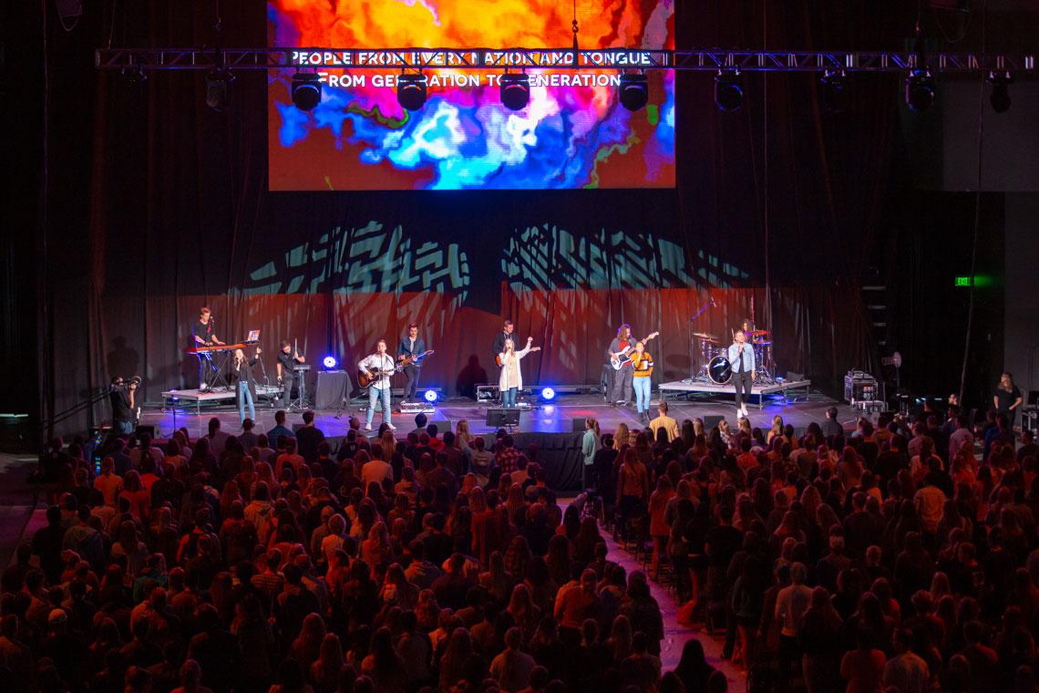 GCU Worship team performing at GCU Chapel at the GCU Arena