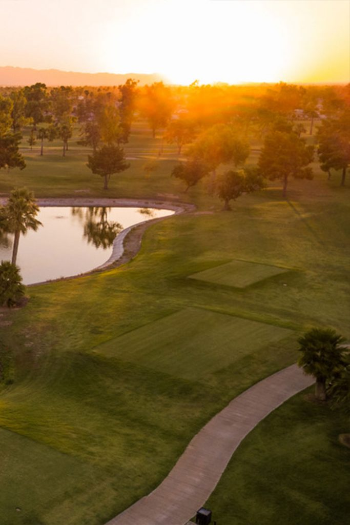 Air view of the GCU Golf course at sunset.