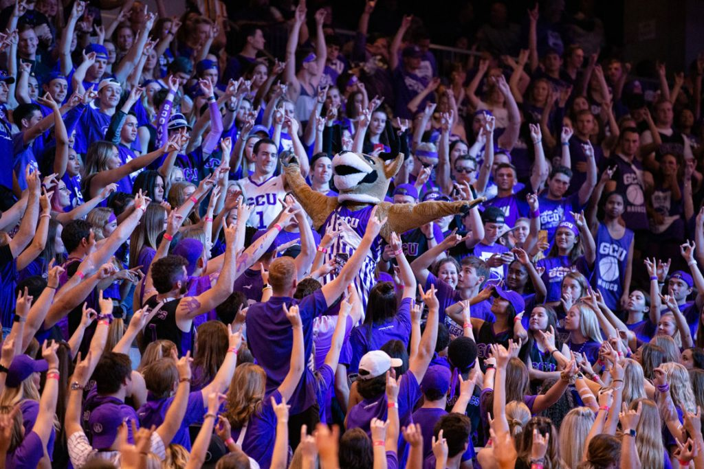 GCU Mascot Thunder in the middle of the GCU Student Section at the GCU Arena