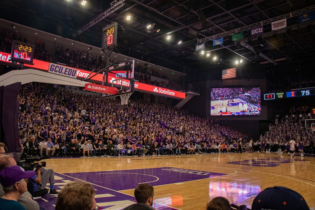 Basketball game in the GCU Arena