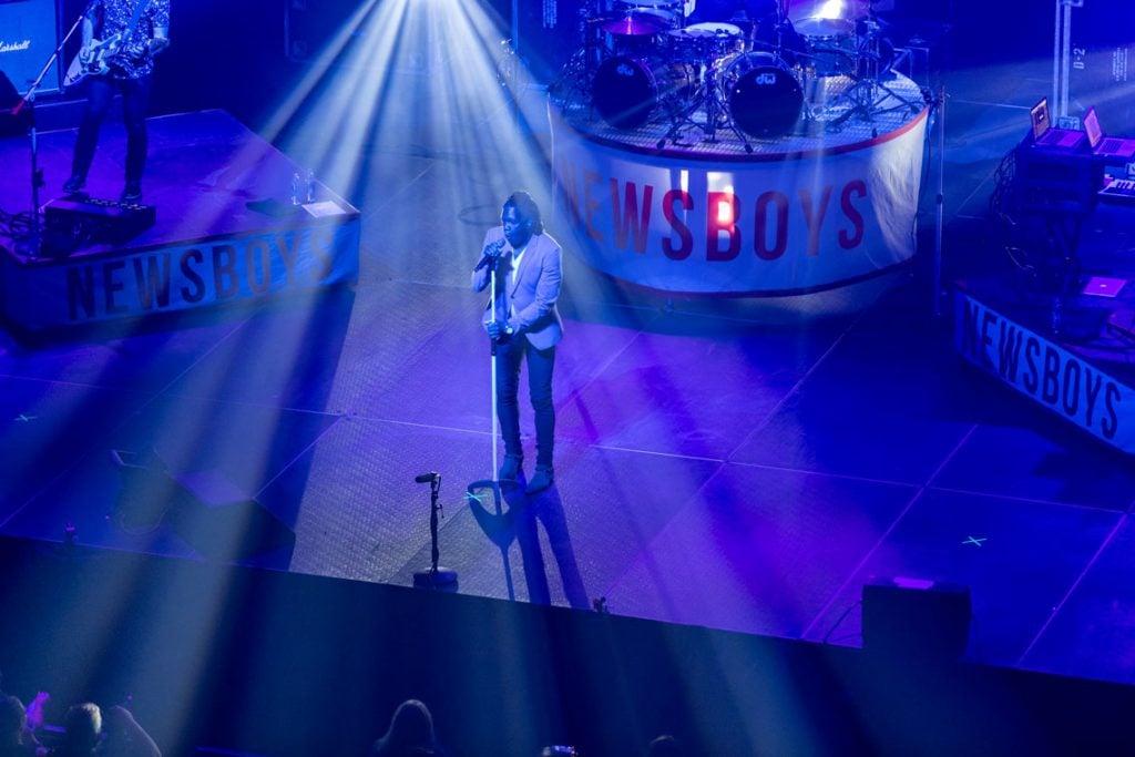 Band Newboys performing at the GCU Arena.